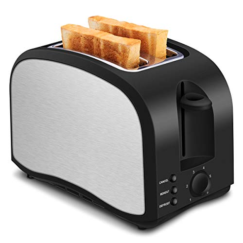 2 Slice Toaster Compact Brushed Stainless Steel Slice Toaster Warm Touch 2-Slice Toaster with One Touch Function and Removable Crumb Tray Black001-3