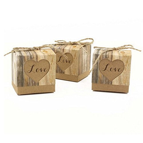 Haperlare 10pcs Wedding Candy Box Rustic Kraft Bonbonniere with Vintage Twine Love Heart Square Wedding Favor Candy Box for Wedding Party Birthday Baby Shower Supplies