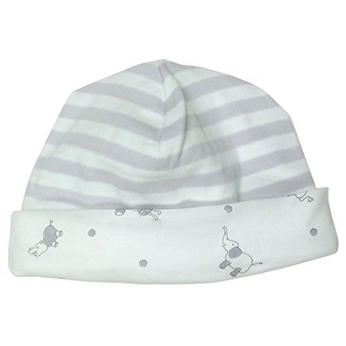 Under the Nile Unisex Baby Beanie NB-3M Grey Stripe Organic Cotton with Jungle Animal ()