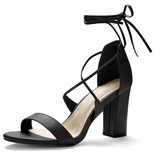 3631afe7a4 Allegra K Women's Open Toe Chunky High Heel Ankle Tie Lace Up Sandals 80%OFF