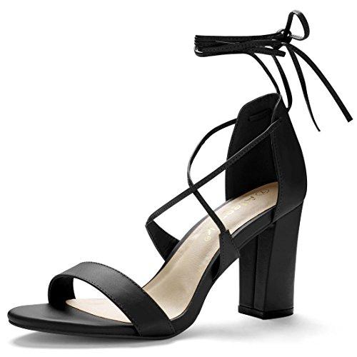 Allegra K Women's Chunky Heel Ankle Tie Sandals Black 7p3zgm
