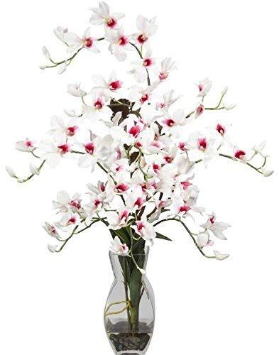 SKB Family Dendrobium W/Vase Silk Flower Arrangement Natural Home Decor White Flower ()