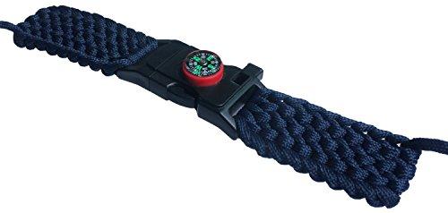 9345d605561 Army Blue Outdoor Survival Watch Strap Band Belt Bracelet 550 Paracord  Compass Flint Fire Starter Whistle
