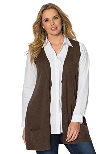 Roamans Women's Plus Size Fine Gauge Long Sweater Vest
