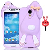 Samsung Galaxy S4 I9500 Case,Vandot 3D Fashion Cute Funny Flower Bow Ears Cartoon Buck Teeth Bunny Protective Skin Shell Soft Rubber Silicone Back Cover Perfect Fit Anti-scratch Pattern+ Anti Dust Plug-Purple