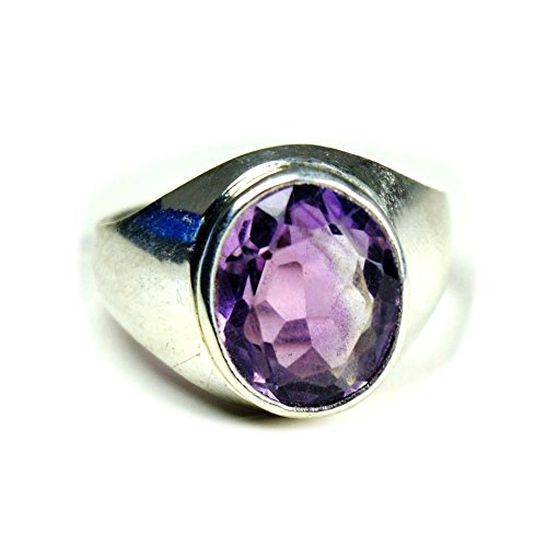 Gemsonclick Natural Amethyst Ring 4 Ct Stone Sterling Silver Oval Shape Ring Size 5,6,7,8,9,10,11,12,13