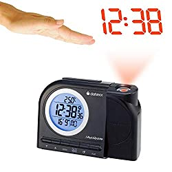 Datexx DRC-6082 Radio Control Projection Clock with Motion Sensor, Black