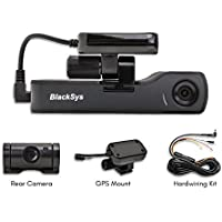 BlackSys CH-200 2 Channel Dash cam with 1920 x 1080p Full HD, Night Vision, GPS Mount, 32GB SD Card, Hardwiring Kit for Parking Mode