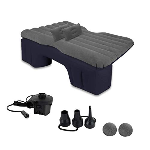 Zento Deals Car Inflatable Travel Air Mattress Bed Back Seat Sleep Pad Premium Quality Portable Car Mattress with 2 Pillows Universal fit