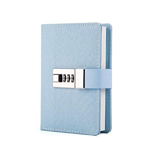 - Lock Journal Combination Lock Writing Travel Diary a7 Mini Notebook Blue