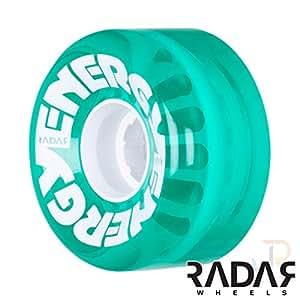 Radar Wheels - Energy 62 - Roller Skate Wheels - 4 Pack of 78A 32mm x 62mm Quad Skate Wheels (Clear Green)