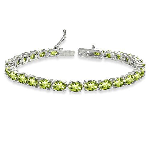 (Sterling Silver 6X4mm Peridot Oval-cut Tennis Bracelet)