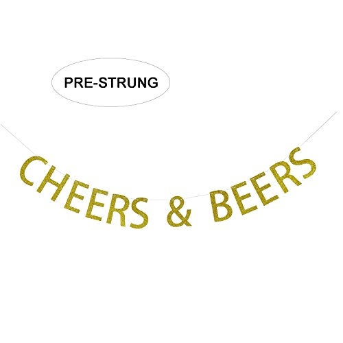 CHEERS & BEERS Banner Gold Glitter Garland Sign - Birthday Party Decorations - Wedding, Bachelorette, Bridal Shower, Engagement Party Decor
