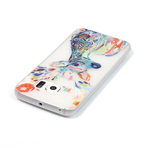 GOCDLJ Carcasa para Samsung Galaxy S6 Edge, Funda para Samsung Galaxy S6 Edge TPU Silicona Transparent Noctilucent Glitter Bling Caja, Alta Calidad Ultra Delgado Fino y Resistente a Caidas con Protect Plumas lobo