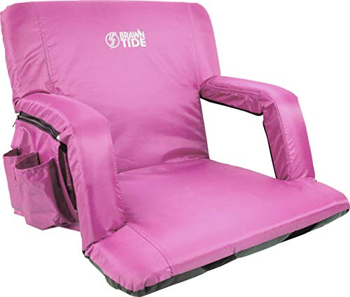 Brawntide Wide Stadium Seat Chair - Extra Thick Padding, Adjustable Bleacher Strap, Shoulder Straps, 4 Pockets, Water Resistant, Ideal for Sporting Events, Beaches, Parks, Camping (Pink)