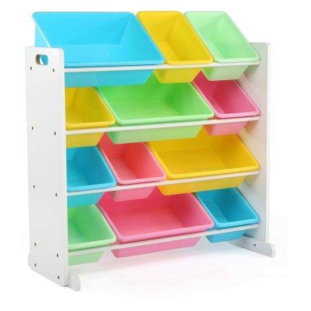 Alternative Sturdy Wood Organizer with 12 Removable Plastic Bins in White/Pastel (Pastel Bins)