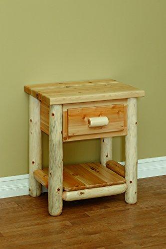 White Cedar Classic 1 Drawer Nightstand *Clear Coat* - Log Cedar Nightstand 1 Drawer