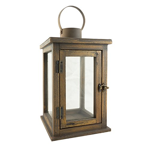 Stonebriar 12.5 Inch Rustic Wooden Candle Hurricane Lantern, For Table Top, Mantle, or Wall Hanging Display, Indoor & Outdoor Use, Large - Hanging Votive Lanterns
