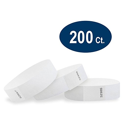 "WristCo White 3/4"" Tyvek Wristbands - 200 Pack Paper Wristbands For Events"