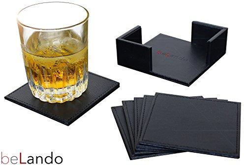 beLando-Design-Leder-Untersetzer-Noel-in-Schwarz-5-Jahre-Garantie-6-Stck-10cm-Premium-Glasuntersetzer