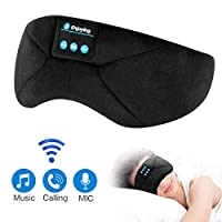 Sleep Headphones Bluetooth Eye Mask, ProCIV Sleeping Mask Wireless Headset Music Play Travel Eye Cover Handfree with Microphone and Speaker for Christmas Holiday, New Year Updated Version