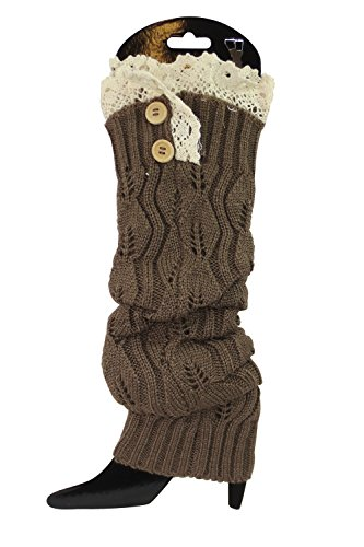 Finishing Touch Knitted Boot Toppers Long Leg Warmers (Brown) ()