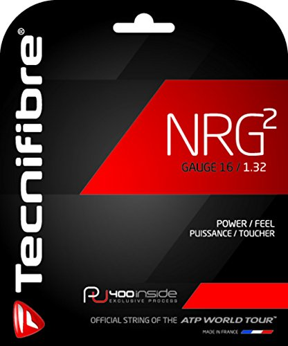 Tecnifibre NRG2-16 Gauge in Black Color - Multifilament Tennis Racquet String Sets 4-Pack (4 Sets Per Order) - Best for Power and Comfort ()