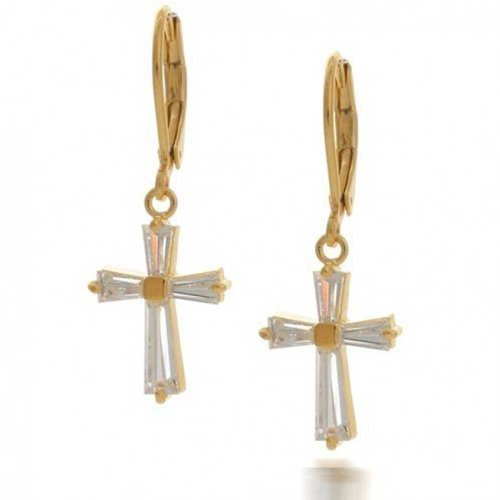 Gold Plated Baguette CZ Cross Leverback Earrings - Leverback Cross