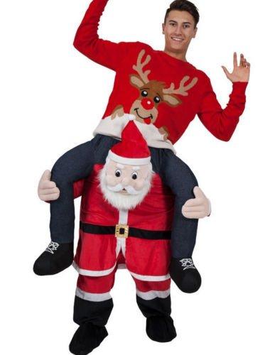 Ride On Piggy Back Shoulder Christmas Santa Claus mascot Costume Unisex Fancy Dress