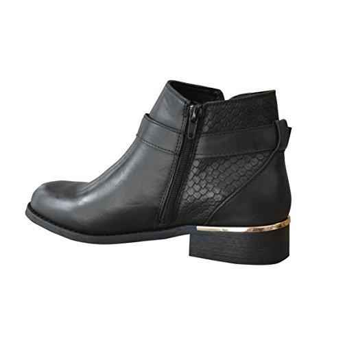 Nero Basso Boot Oro Ladies New Dettaglio Winter Tacco Fibbia Ankle Snakeskin Womens RwHtxP1tq