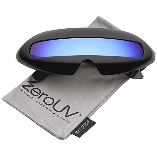 zeroUV - Futuristic Costume Single Shield Colored Mirror Lens Novelty Wrap Sunglasses 70mm (Black / Blue - Zerouv Futuristic