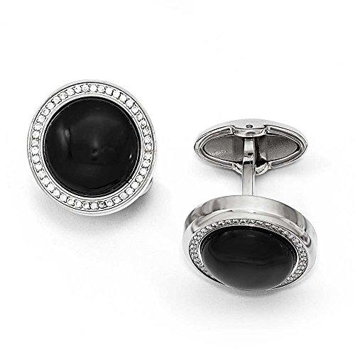 En acier inoxydable poli avec zircone cubique et onyx Cercle boutons de manchette