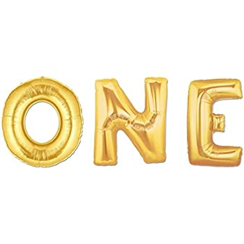 "C-Spin 16 INCH 1 ONE Gold Foil Number Letter Balloon 16"" 1st Birthday Anniversary Decorations Mylar Foil Balloons"