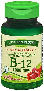 Nature's Truth Sublingual Methylcobalamin B-12 1000 mcg Fast Dissolve Tabs Natural Berry Flavor - 120 ct, Pack of 6 by Nature's Truth