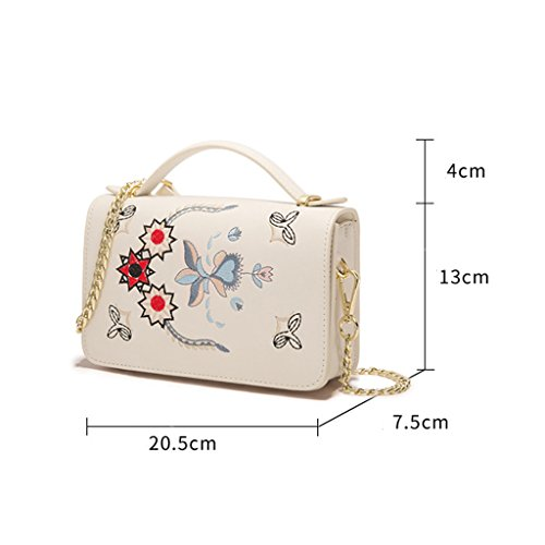 Bag Korean Pu Ms Shoulder Embroidery Leather Crossbody Version Messenger Handbag Jiute Chain Ms qAwHS0Ht