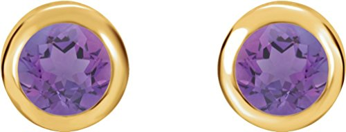 February Birthstone Stud Earrings, 14k Yellow Gold by The Men's Jewelry Store (Unisex Jewelry)