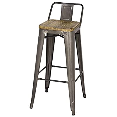 "Metropolis Metal Low Back Bar Stool 30"" Wood Seat,Gunmetal Gray,Set of 4"