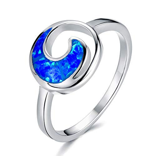 (RongXing Chic 925 Sterling Silver Wave Opal Rings Blue and White Moon Rings for Women and Girls Home Casual Wear (Blue Size 6))