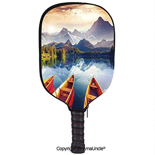 SCOXIXI 3D Pickleball Paddle Racket Cover Case,Dreamy Majestic Mountains View Reflections from Shore with Boats Pastoral LandscapeCustomized Racket Cover with Multi-Colored,Sports Accessories