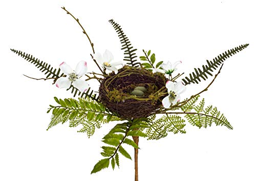 Melrose Bird Nest with Fern and Dogwood Green 17 x 15 Grapevine and Polyester ()