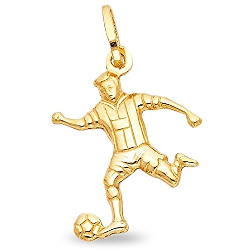 Solid 14k Yellow Gold Soccer Player Pendant Sports Charm Polished Finish Genuine Solid 23 x 20 -