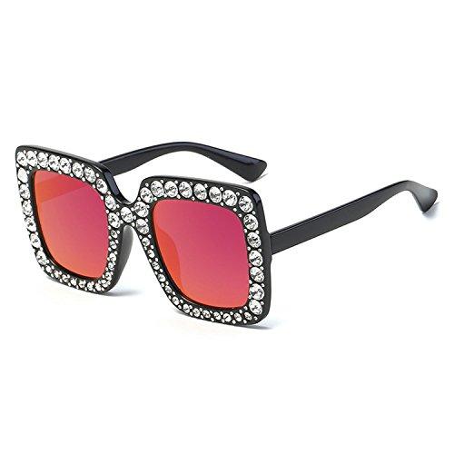 Fashion Oversized Diamond Sunglasses Women Luxury Square Crystal Mirror Eyewear,C4 Black ()