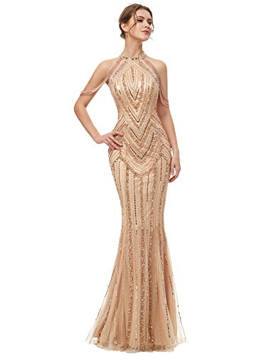Clearbridal Women's Long Mermaid Beaded Prom Dresses Halter Sequin Formal Dresses 2019 ()