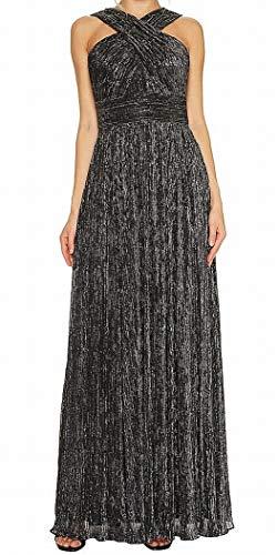 Klein Calvin Shimmer (Calvin Klein Women's Shimmer Cross Neck Gown CD7B6X8Y Black/Silver 4)
