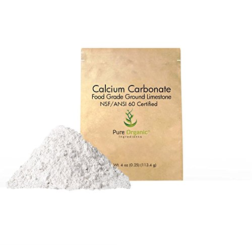 Calcium Carbonate Powder (4 oz.) by Pure Organic Ingredients, Eco-Friendly Packaging, Dietary Supplement, Antacid, Food Preservative, More (Also Available in 11 oz, 16 oz, 32 oz, 50 lb)