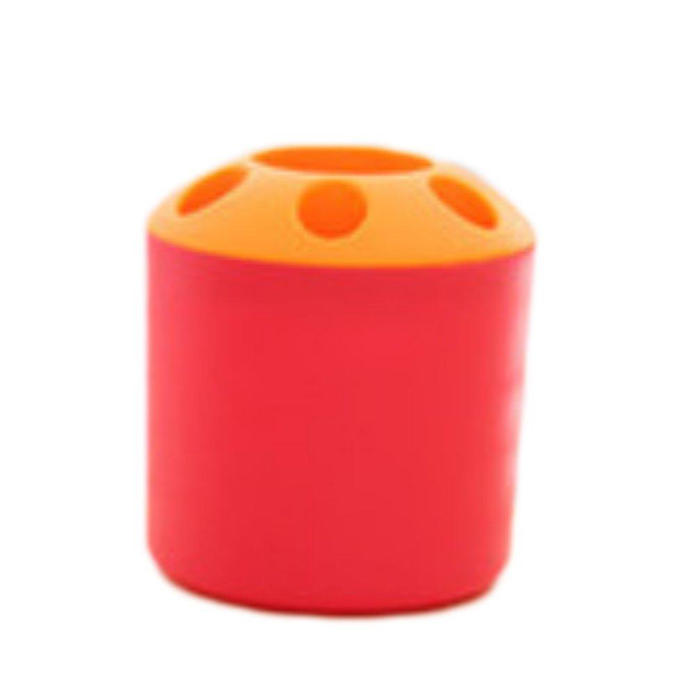 Wicemoon Desk Boîte de rangement pour stylos creux Poubelle Corbeille à papier et support de brosse à dents, Plastique, Green, 9x9x10.3cm