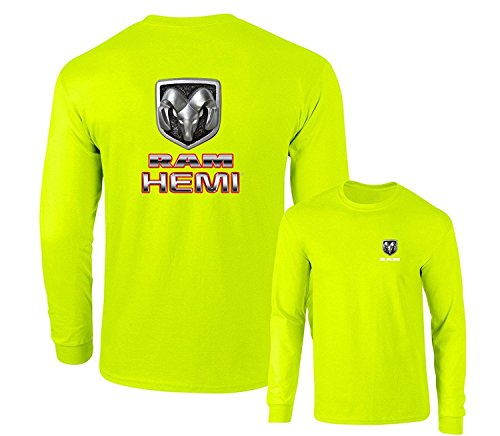 Ram Hemi Logo Dodge Emblem Mopar Badge Long Sleeve T-Shirt, Safety Green, M (2011 Dodge Ram Laramie Longhorn For Sale)