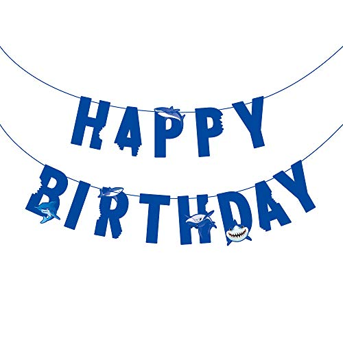 Baby Shark Ocean Animal Theme Happy Birthday Banner ,Under the Sea Birthday Party Decoration for Kids Baby Show Theme Birthday ,Summer Party ,Nautical ,Wedding Festival Party decorations Favor ,Blue]()