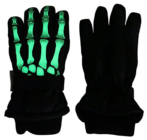 (N'Ice Caps Kids Glow in the Dark Skeleton Waterproof Thinsulate Gloves (Black Skeleton, 10-12 Years))