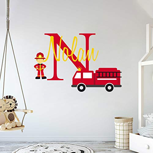 Personalized Name Firefighter and His Truck- Baby Boy - Wall Decal Nursery for Home Bedroom Children (Wide 30x19 Height)